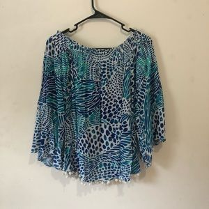 Lilly Pulitzer off shoulder blue nautical top